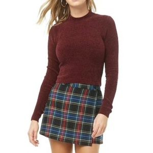 Chenille Mock-Neck Cropped Sweater